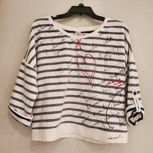 Desigual navy stripe short sleeve sweatshirt top